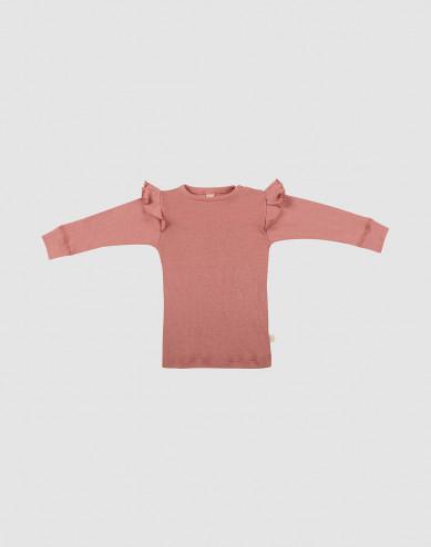 Baby merino wool ruffled long sleeve top- Pink