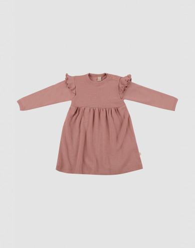 Baby wool ruffled dress- Pink