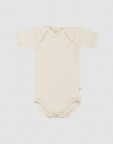 Baby organic merino wool short sleeve bodysuit- nature