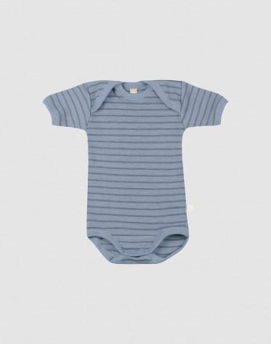 Baby short sleeve wool bodysuit- Blue Stripe