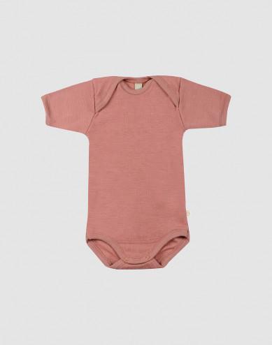 Baby short sleeve merino wool bodysuit- Pink