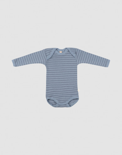 Baby merino wool long sleeve bodysuit- Blue Stripe