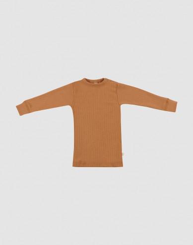 Baby wide rib merino long sleeve top- Caramel
