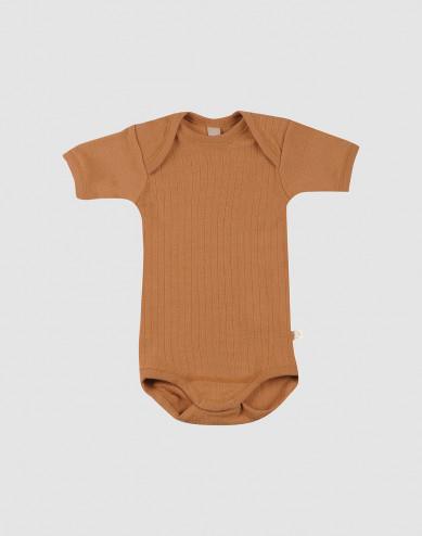 Baby rib merino wool short sleeve bodysuit- Caramel