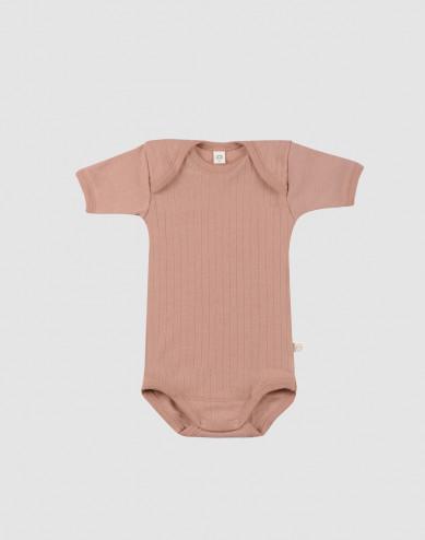 Baby short sleeve organic merino wool bodysuit-powder