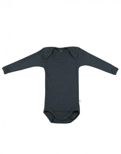 Baby ribbed merino wool bodysuit- dark petrol blue