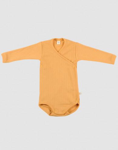 Baby ribbed merino wool wrap bodysuit- yellow