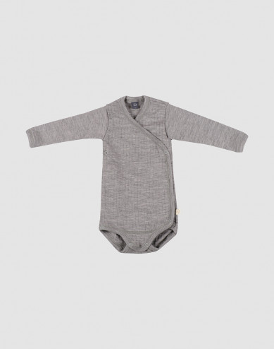 Baby ribbed wrap bodysuit- grey melange