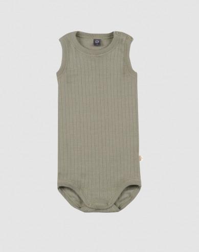 Baby sleeveless rib knit merino wool bodysuit- olive green