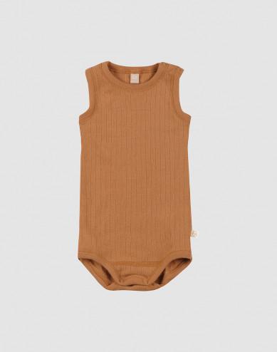 Baby rib knit wool sleeveless bodysuit- Caramel