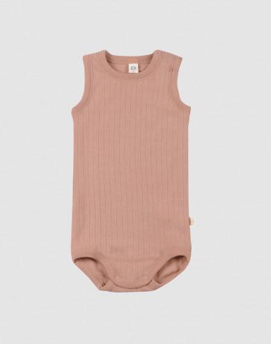 Baby sleeveless merino wool bodysuit- powder