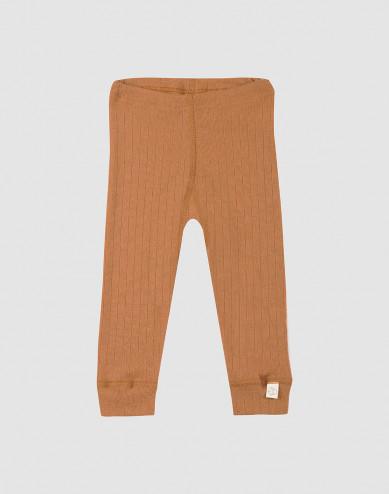Baby ribbed wool leggings- Caramel
