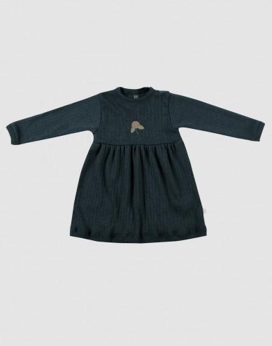 Baby ribbed merino wool dress- dark petrol blue