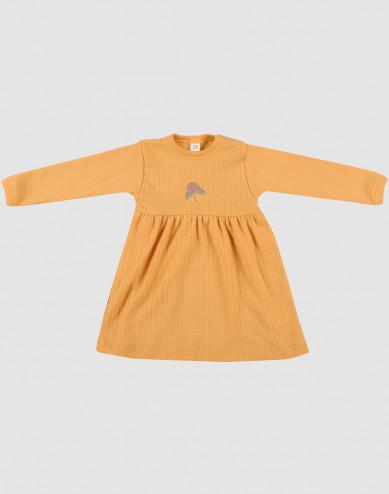 Baby ribbed merino wool dress- yellow