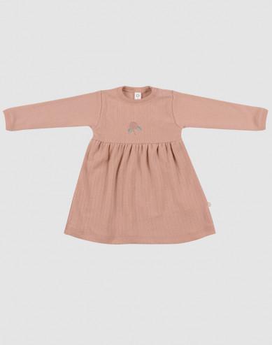 Baby ribbed merino wool dress- powder