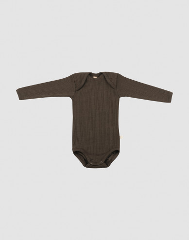 Baby rib knit wool bodysuit- Dark Chocolate