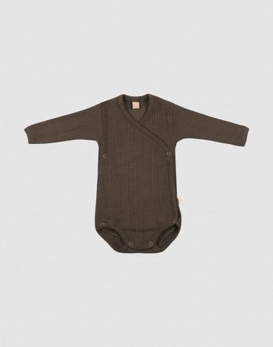 Baby knitted wool wrap bodysuit- Dark Chocolate