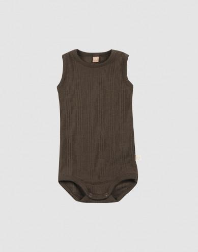 Baby ribbed wool sleeveless bodysuit- Dark Chocolate