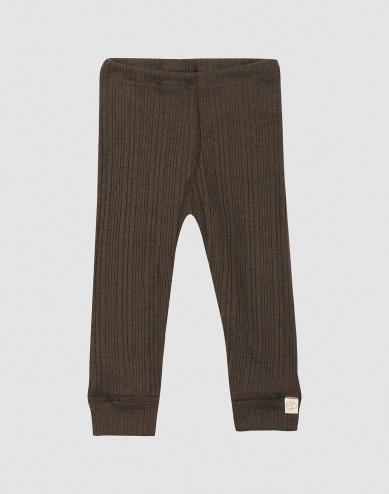 Baby ribbed wool leggings- Dark Chocolate