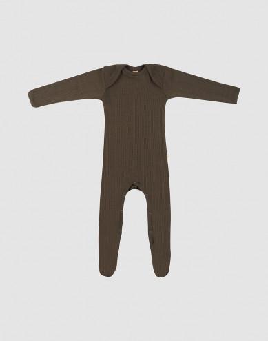 Baby full-length merino wool bodysuit- Dark Chocolate