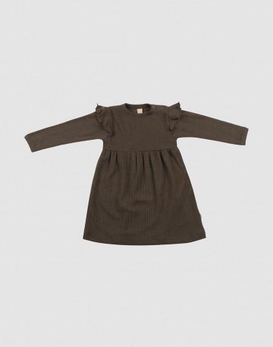 Baby ribbed wool dress with ruffles- Dark Chocolate