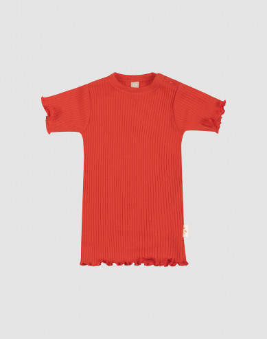 Baby merino wool T-shirt with frilled edges