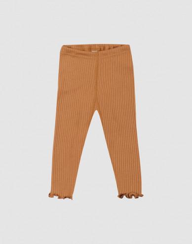 Baby merino wool leggings with frilled edge- Caramel