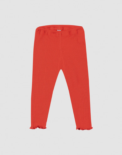 Baby merino wool leggings with frilled edges