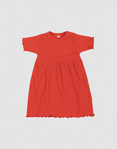 Baby merino wool dress with frilled edges