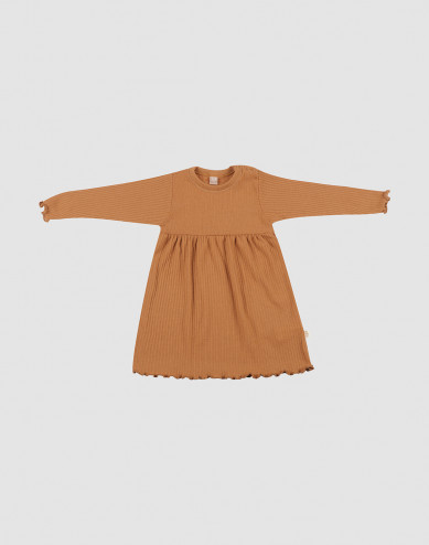 Baby merino wool dress with frilled edges- Caramel