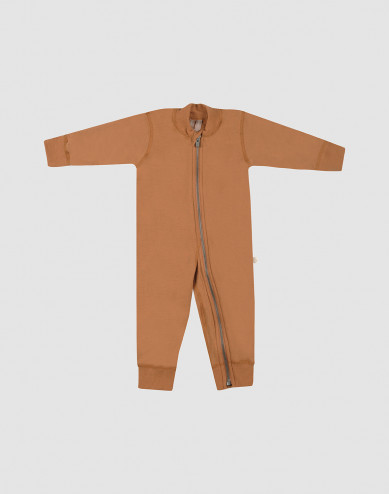 Baby full-length wool terry bodysuit- Caramel