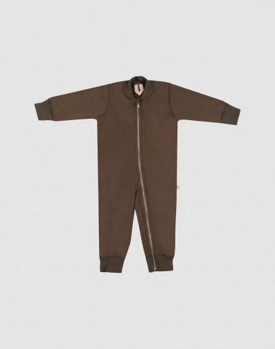 Baby full-length wool terry bodysuit- Dark Chocolate