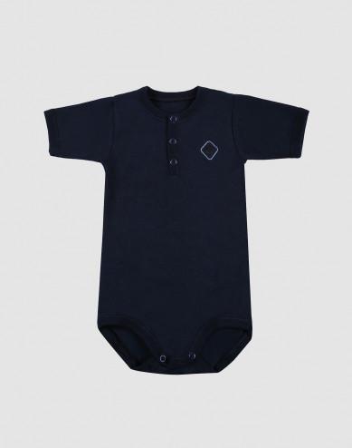 Baby short sleeve organic cotton bodysuit- navy