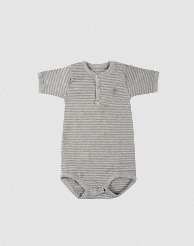 Baby short sleeve organic cotton bodysuit- grey stripe