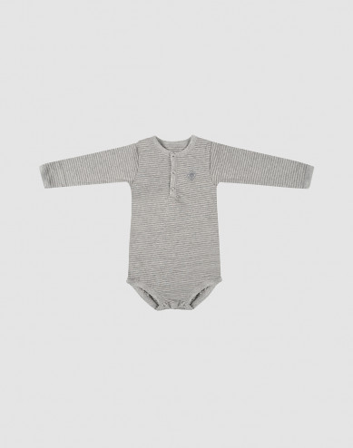 Baby long sleeve organic cotton bodysuit- grey stripe