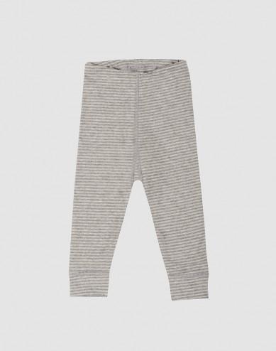 Baby organic cotton long johns- grey stripe