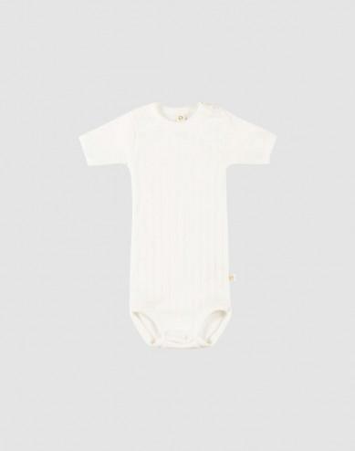 Baby short sleeve organic cotton bodysuit- white