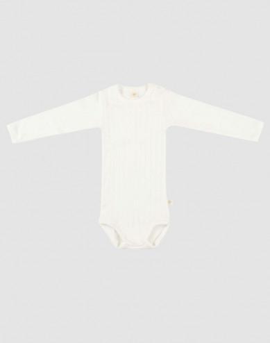Baby long sleeve organic cotton bodysuit- white