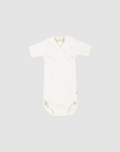 Baby organic cotton wrap bodysuit- white