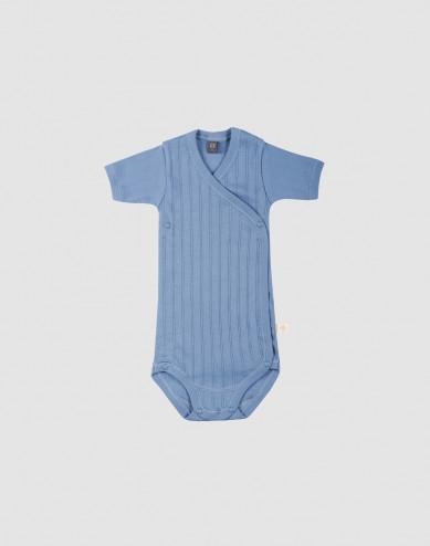 Baby organic cotton wrap bodysuit- blue