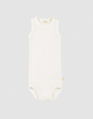 Baby sleeveless organic cotton bodysuit- white