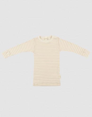 Baby organic wool/silk long sleeve top- Beige/Nature