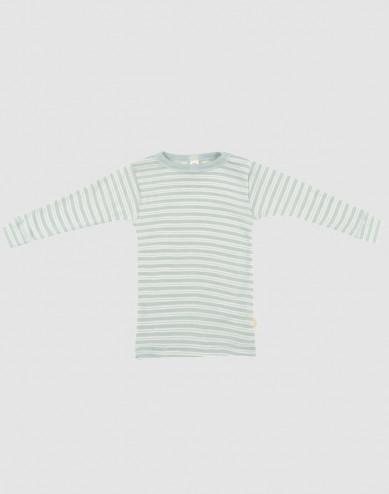 Baby organic wool/silk long sleeve top- Mottled Pastel Green/Nature