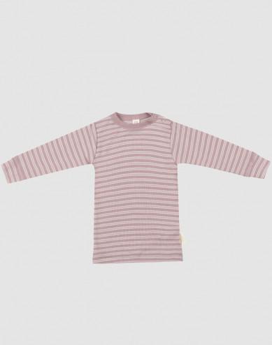 Baby organic wool/silk long sleeve top- Mottled Pastel Pink/ Nature