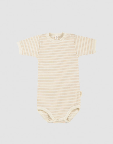 Baby organic wool/silk short sleeve bodysuit- Beige/Nature