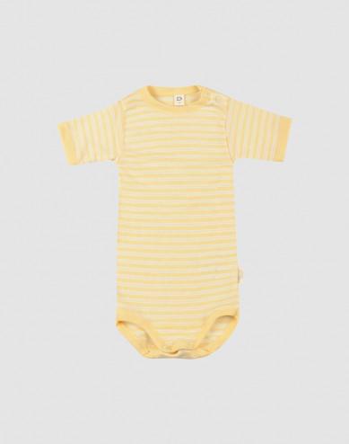 Baby Organic Wool/Silk Short Sleeve body- Light Yellow/ Nature