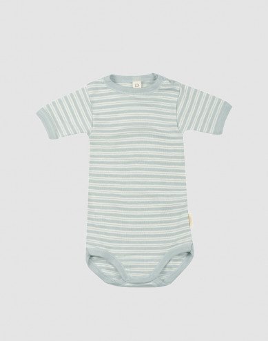Baby organic wool/silk short sleeve bodysuit- Pastel Green/Nature