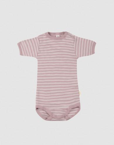Baby organic wool/silk short sleeve bodysuit- Pastel Pink/ Nature