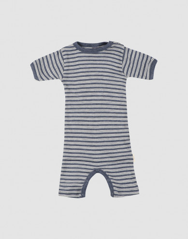 Baby organic wool/silk summer bodysuit- Mottled Blue/ Nature