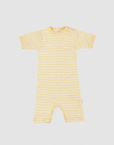Baby Organic Wool/ Silk Summer Bodysuit- Light Yellow/ Nature
